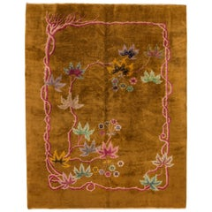 Antique Chinese Art Deco Brown Rug