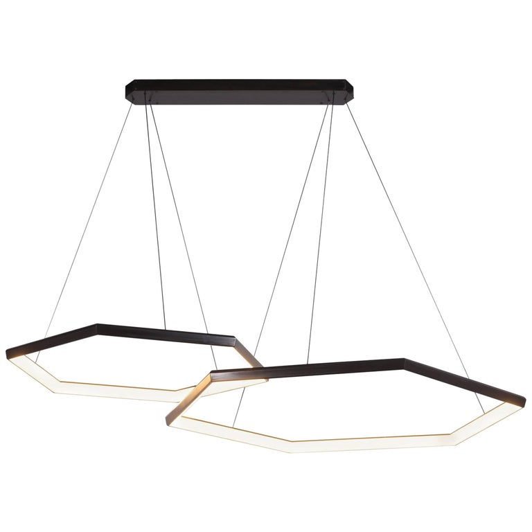 HEXIA DUO HXD46 - Black Hexagon Geometric Modern LED Chandelier Light Fixture