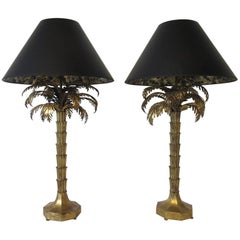Gilt Tole Palm Tree Table Lamps in the style of Maison Jansen