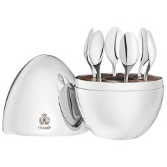 MOOD by Christofle France Set of 6 Silverplate Espresso spoons in Egg chest New