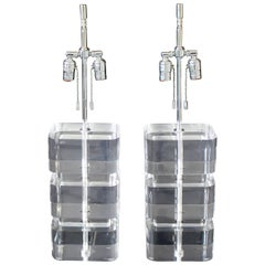 Mid-Century Modern Karl Springer Pair of Stacked Lucite and Nickel Table Lamps