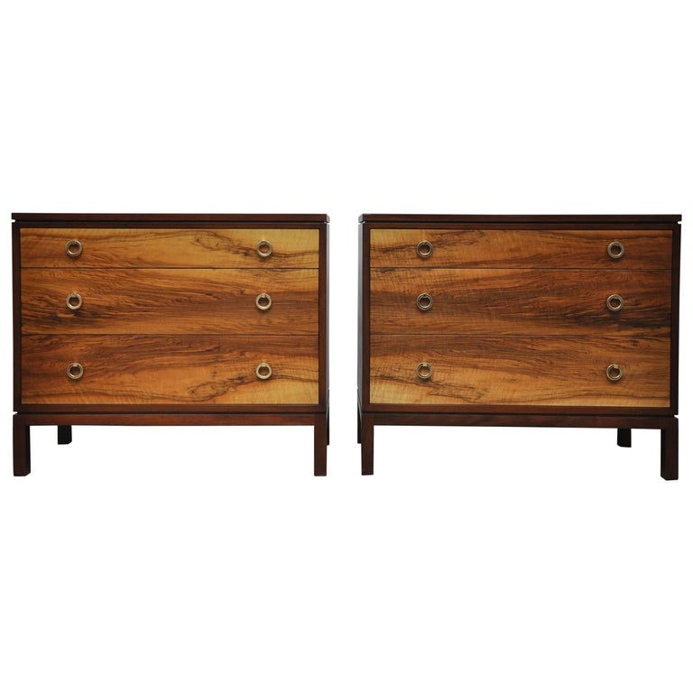 Pair of Dunbar Walnut Front Chests, Edward Wormley For Sale