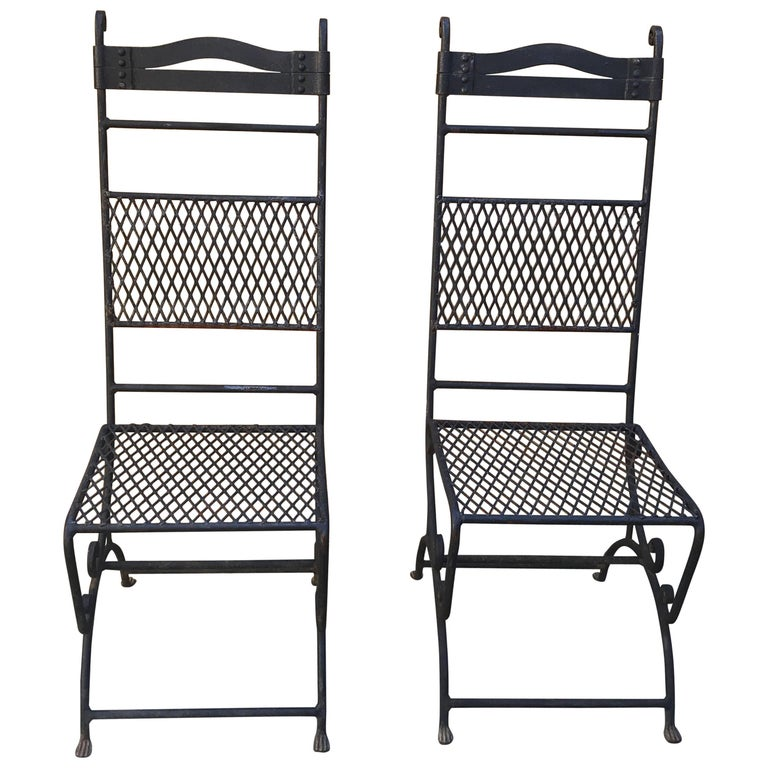 Pair of Wrought Iron High Back Chairs