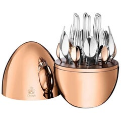 Mood by Christofle France 24-Piece Silver Plated Flatware Set Egg Pink Gold New