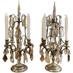 Pair of Stunning French Prism Candelabra