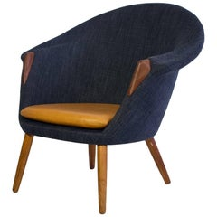 Lounge Chair Upholstered with Dark Blue Fabric and Cognac Leather on Oak Legs