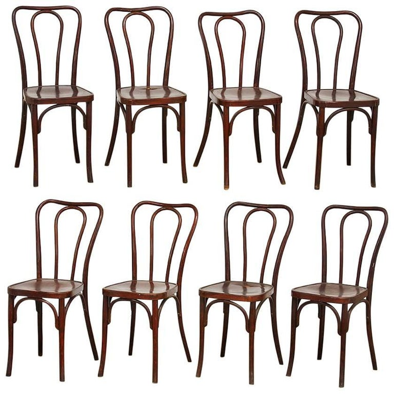 Set of Eight Viennese Bentwood Chairs by J.J. Kohn
