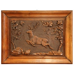Late 19th Century Swiss Black Forest Carved Walnut Panel with Deer and Trees