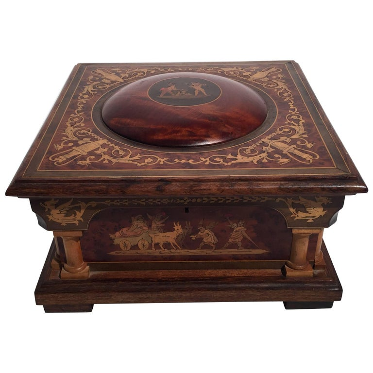 Italian Inlaid Neoclassical Musical Jewelry Box For Sale