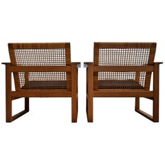 Børge Mogensen Mid-Century Modern Pair of Oak and Cane Lounge Chairs