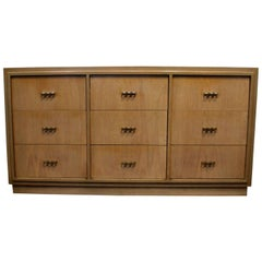 Paul Frankl Style 1950s Dresser with Brass Knuckle Pulls