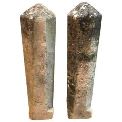Pair of 19th French Stone Markers, Obelisks