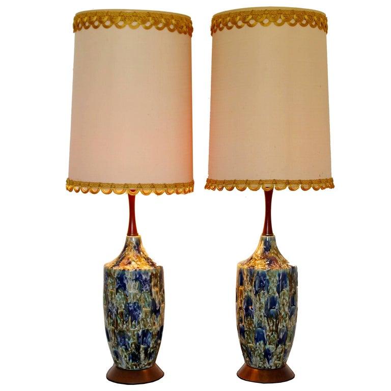 Mid-Century Modern Blue Drip Lava Glaze Ceramic Table Lamps 1960s Finials, Pair