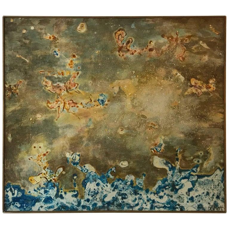 Angela de Mott Organic Abstract Painting, 1976