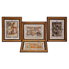 Set of Four French Hand-Painted Porcelain Plaques Signed Pierre de Hugo
