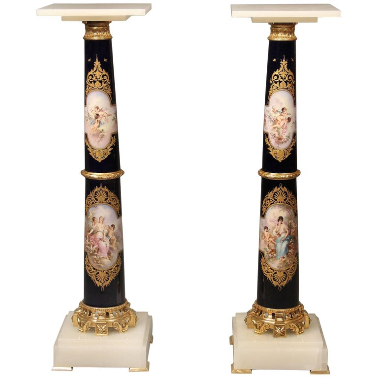 Exceptional Pair of Late 19th Century Gilt Bronze Mounted Sèvres Pedestals