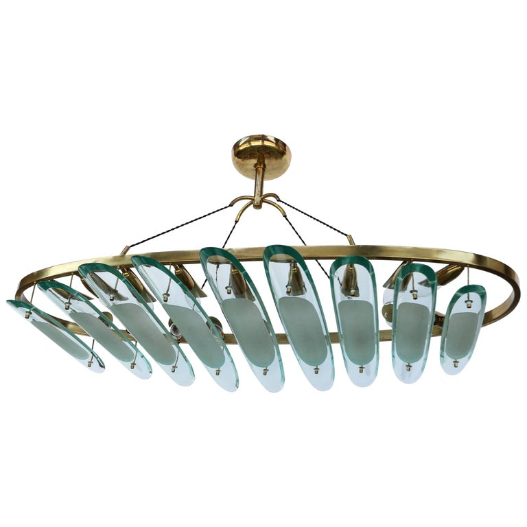 Oval Brass Fontana Arte for Dominici Chandelier with Long Glass Pieces For Sale