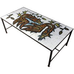 Large Coffee Table in Enameled Lava in the Style of Jean Lurcat, circa 1960