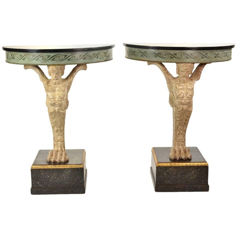 Pair of Carved and Painted Demilune Console Tables, circa 1950-1960