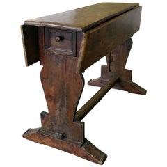 Antique Italian Drop-Leaf Beech Wood Table