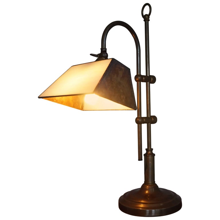 Arts & Crafts Style Brass and Mother-of-Pearl Color Glass Table or Desk Lamp