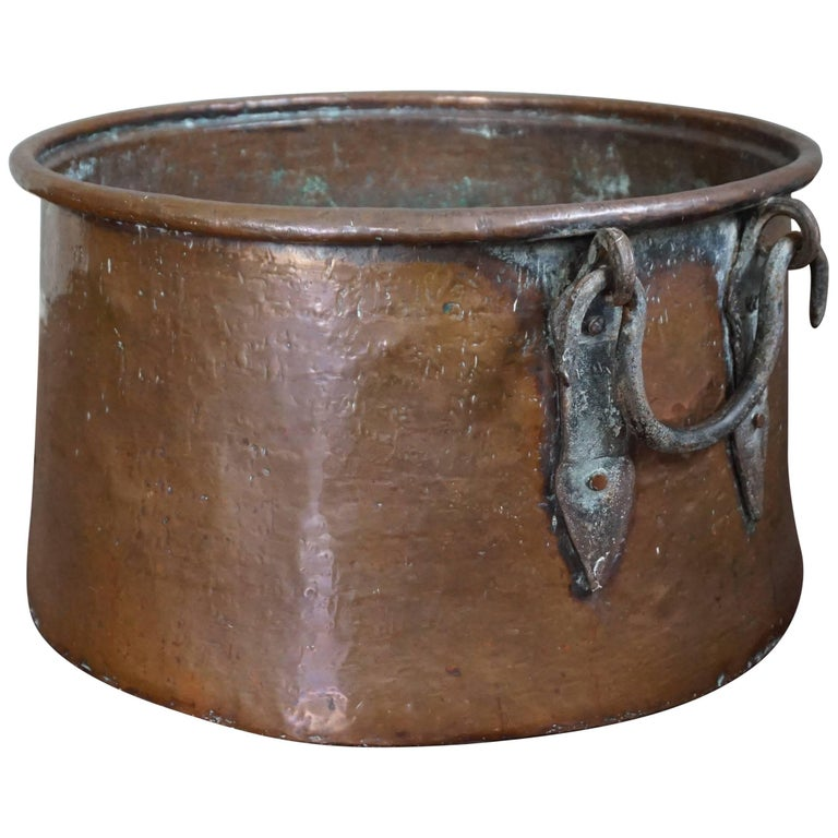 Antique, Large & Decorative Hand Hammered Copper & Wrought Iron Firewood Bucket