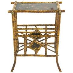 Bamboo Furniture, Antique Magazine Rack, Chinoiserie Panels, Scotland, 1880