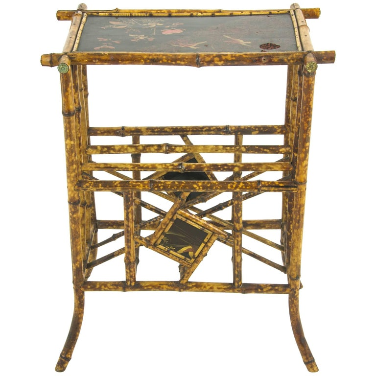 Bamboo Furniture, Antique Magazine Rack, Chinoiserie Panels, Scotland, 1880  For Sale - Bamboo Furniture, Antique Magazine Rack, Chinoiserie Panels