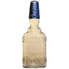 1950s Rare Vintage Italian Cordial Campari Glass Flask with Aluminium Cap