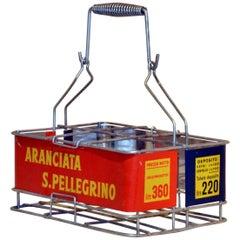 1960s Italian Vintage Metal Aranciata San Pellegrino Soda Bottle Basket