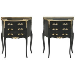 Monumental Pair of French Louis XVI Ebonized Nightstands by Maison Jansen