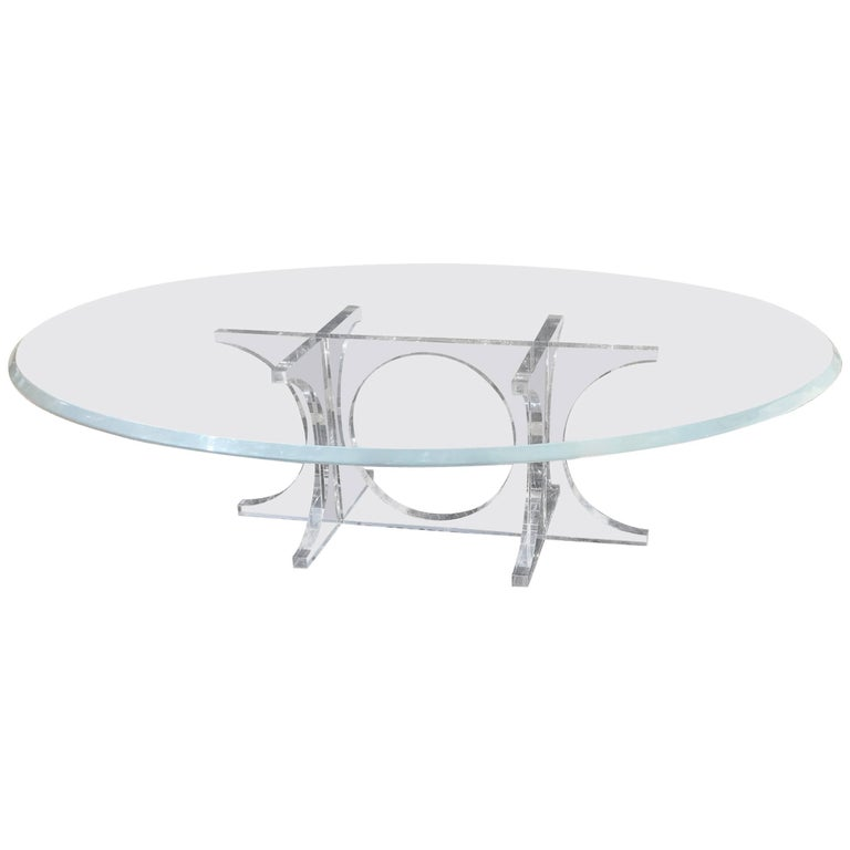 Monumental Mid-Century Modern Oval Lucite Cocktail Table or Coffee Table