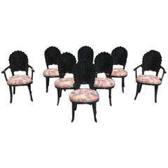 Beautiful Set of Eight Italian Ebonized Venetian Grotto Shell Back Dining Chairs