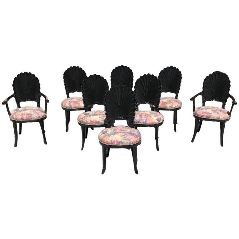 Beautiful Set of Eight Italian Ebonized Venetian Grotto Shell Back Dining Chairs