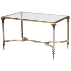 Neoclassic French Steel and Brass Coffee Table, Inset Glass Top