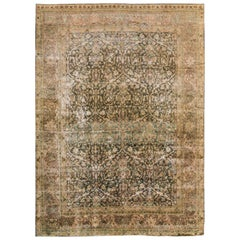 Early 20th Century Distressed Beige, Tan Persian Tabriz Rug