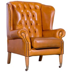 Chesterfield Armchair Leather Yellow One Seater Vintage