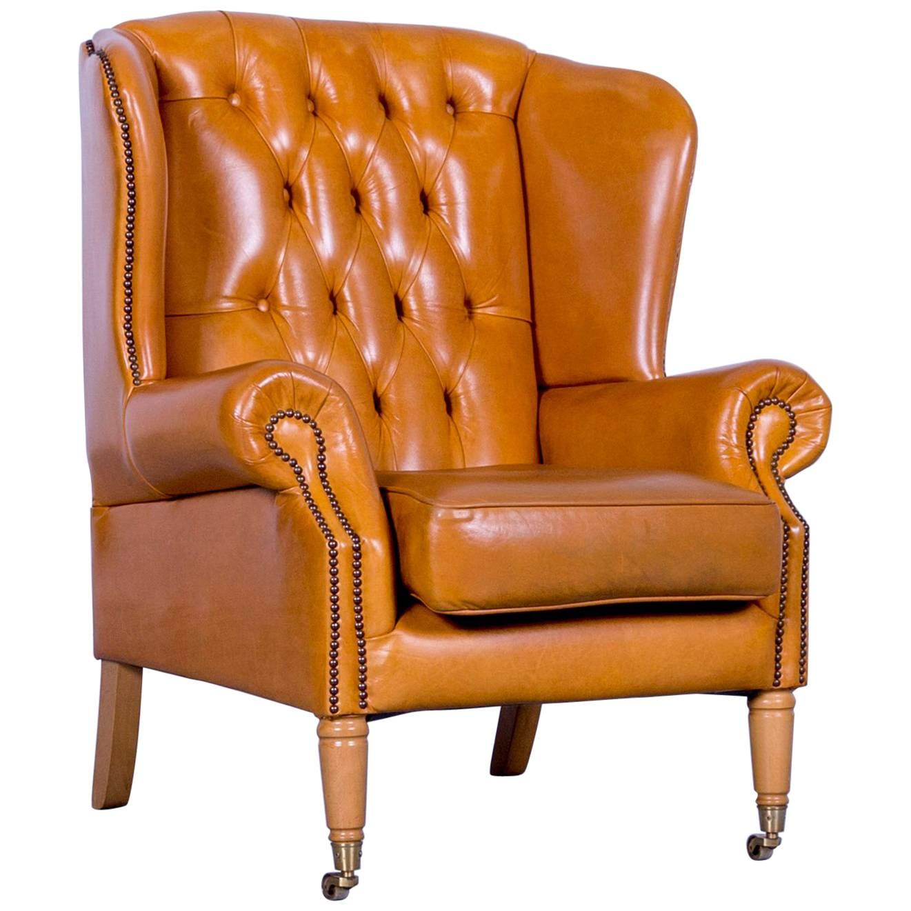 Chesterfield Armchair Leather Yellow One Seater Vintage For Sale