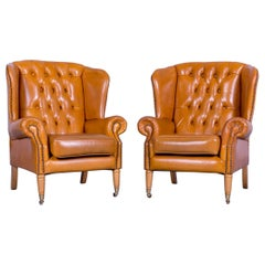 Chesterfield Leather Armchair Set Yellow One Seater