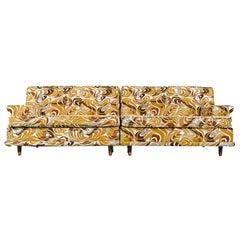 Modular Settee Sofa Set, Original Psychedelic Abstract Print Tribal Fabric