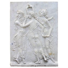 Three Graces Relief Hand-Carved in White Carrara Marble