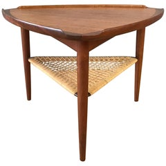 "Ib Kofod-Larsen for Selig Teak and Cane ""Wedge"" Table"