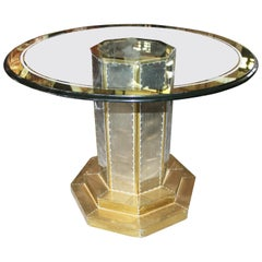 1970s Two-Tone Gilded Brass on Wood Glass Top Table