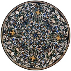 Italian Pietre Dure Semiprecious Hardstones Inlay Black Marble Mosaic Tabletop