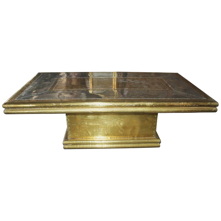 1970s Two-Tone Gilded Brass on Wood Designer Coffee Table