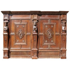 19th Century Carved Oak Overmantel
