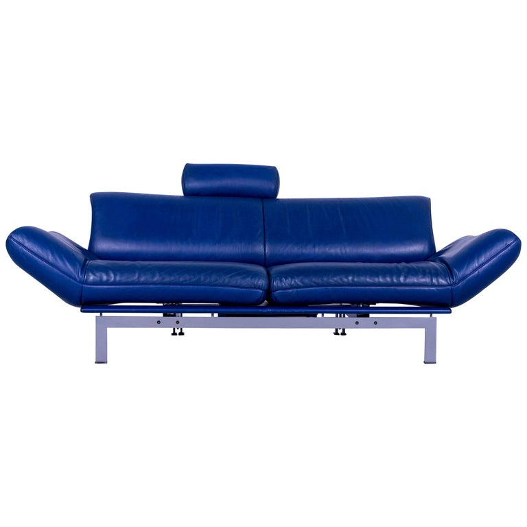 De Sede DS 140 Designer Leather Sofa Blue Two-Seat