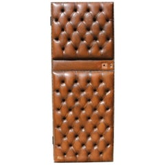 Early 20th Century English Brown Leather Chesterfield Door