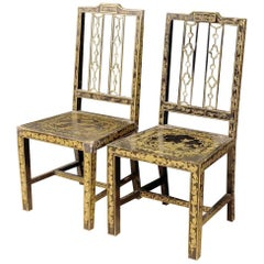 Pair of Lacquered and Painted Chinoiserie French Chairs from 20th Century