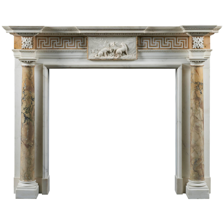 Statuary & Siena Marble Fireplace of 18th Century Palladian Design